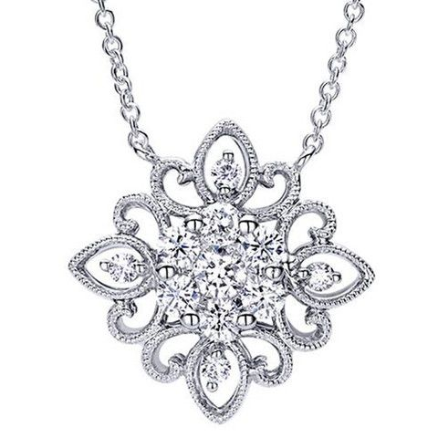"Gabriel Diamond Scrollwork Filigree ""Antique Lace"" Cluster Pendant · NK4193W44JJ · Ben Garelick Jewelers"