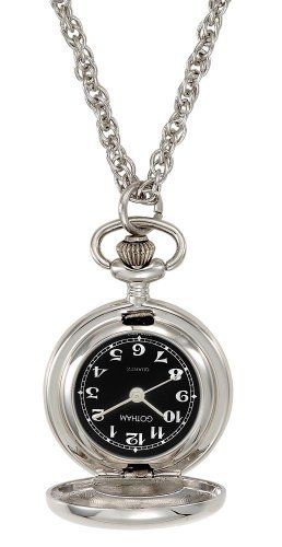 Gotham Women's Polished Silver-Tone Quartz Fashion Pendant Watch # GWC14132SB Gotham. $34.95. Elegant highly polished silver-tone covered pendant watch that opens to display time. Arrives in gift packaging that does not need wrapping, operating instructions and a lifetime limited warranty. Precision Japanese quartz movement. Includes 28 inch silver-tone rope chain. Rich black dial with white antique style Arabic numbers and hands. Save 42%!