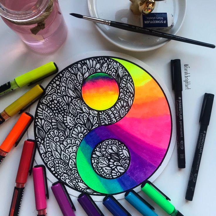 drawing yang yin zentangle mandala cool neon drawings unique watercolor artwork