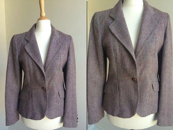 Vintage 70s Tweed Blazer  Size Small by HappyRedUK on Etsy