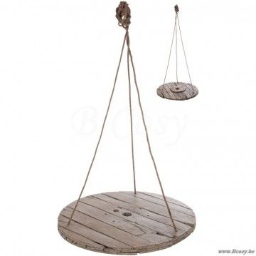 J-Line Ronde hangende tafel in steigerhout ophangend rond hout grijs ø100