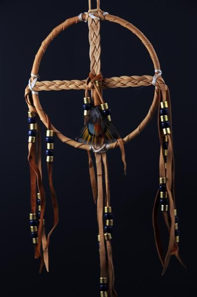 Braided Medicine Wheel with Blue Beads