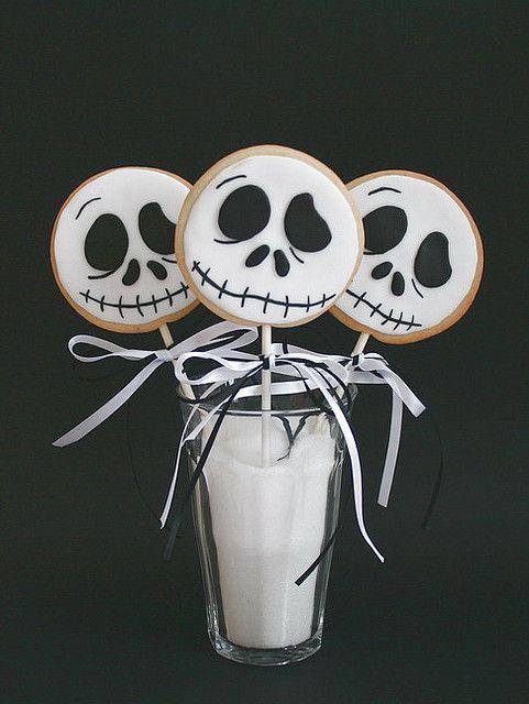 Jack Skellington cookie lollies  Sugar cookies with fondant icing.