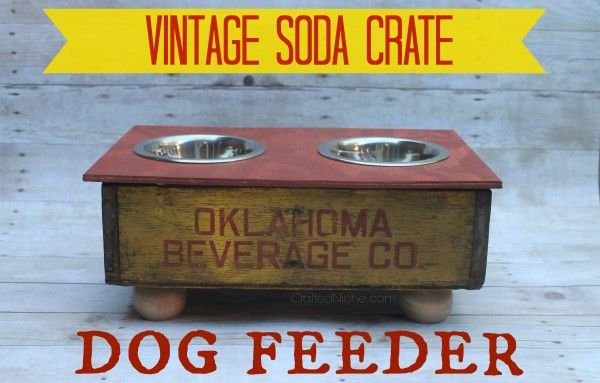 Vintage Soda Crate Dog Feeder from Crafted Niche.com