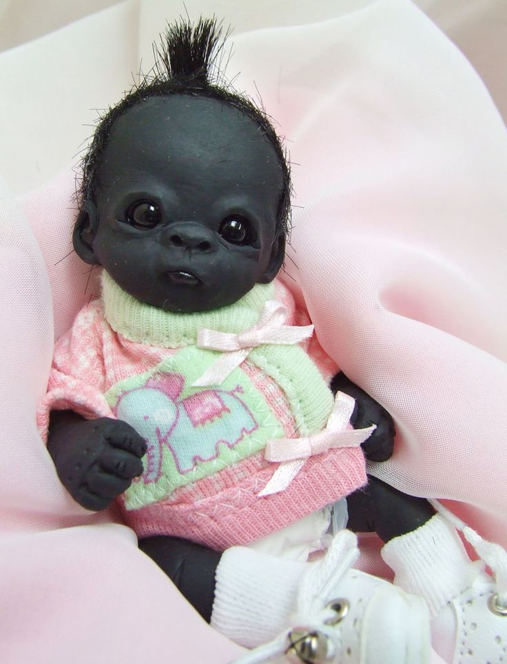 Ooak Baby Gorilla Monkey Girl Sculpted Polymer Clay Art