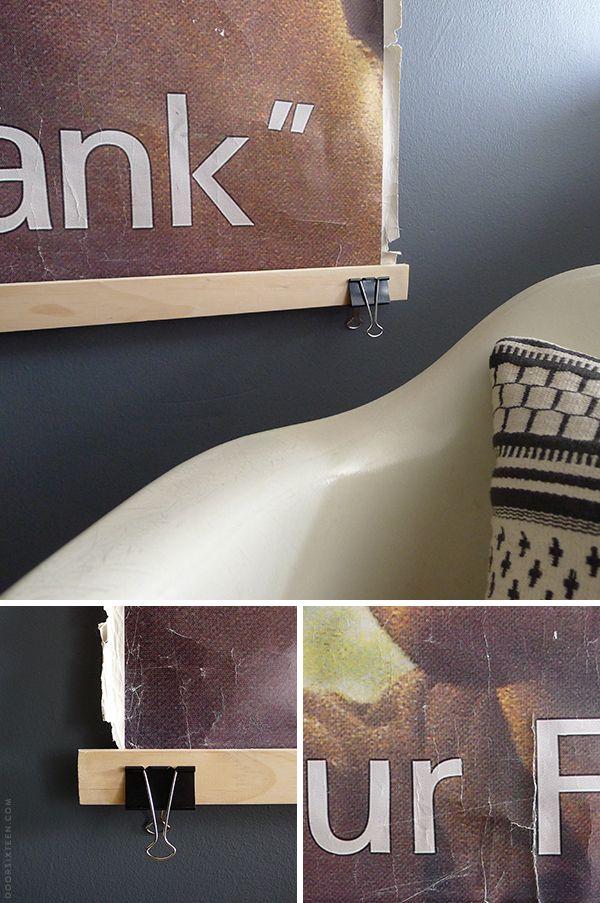 frameless poster frame with lattice strips and binder clips via doorsixteen
