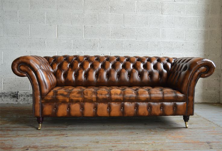Traditional British handmade Antique Belmont deep buttoned Chesterfield Sofa, shown in gold antique leather. 3 seater. | Abode Sofas
