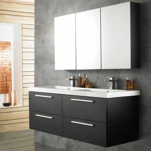 ensemble meubles salle de bain design moderne bois noir meuble rangement suspendu sous lavabo rsine 4 tiroirs 1440 x 550 x 510mm armoire mural - Ensemble Vanite Armoire