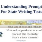Understanding Prompts for State Writing Tests PowerPoint. Taking a state writing test? 16 slide PowerPoint presentation helps students prepare for ...