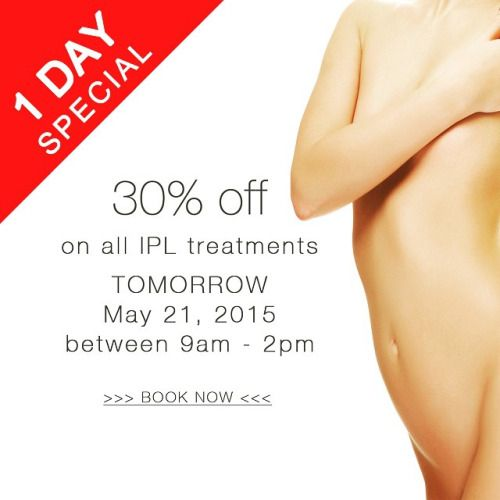 30% off on IPL Treatments here at Bella Medispa Kealba. Available only  for tomorrow, May 21 from 9am to 2pm. #ipl #hairremoval #promo #spa #beauty