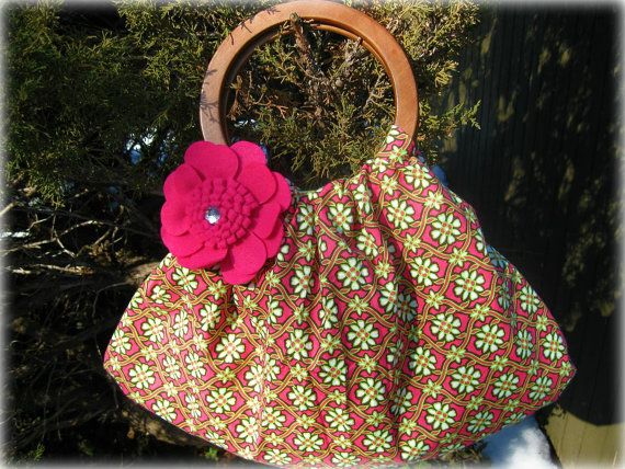 FREE SHIPPING!   Easter/Spring/Summer Hobo bag with wooden handles    by BolderBags, $50.00