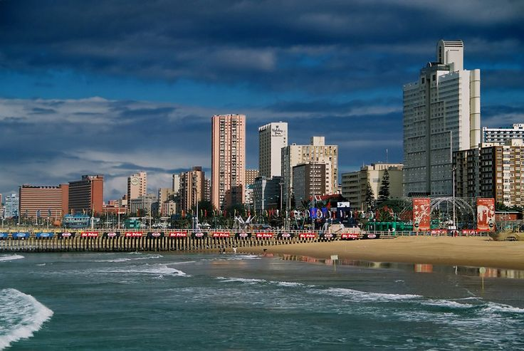 Durban's beachfront highrises. Durban is a city in KwaZulu-Natal Province_ South Africa. De long continuous stretch of hotels dat line de city's beachfront is known as Durban's Golden Mile.