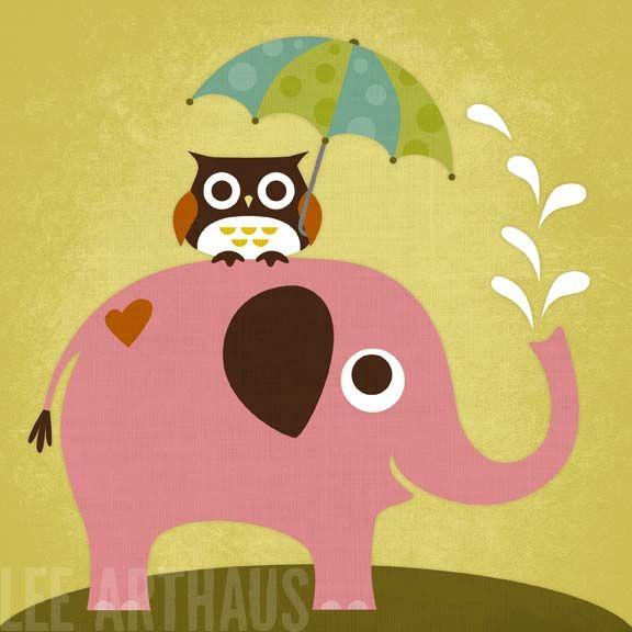 Bright Pink Elephant...Love these prints!  www.leearthaus.etsy.com: Elephants, Nancy Lee, 6X6 Print, Umbrellas, Art Prints, Umbrella Art, Owls, Kid