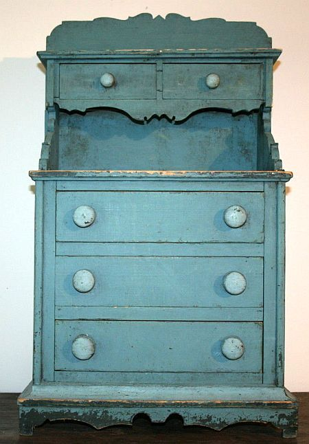antique blue miniature doll dresser with hutch top lovely old