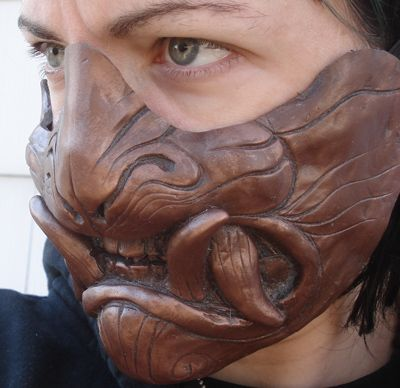 Cold cast copper demon mask by missmonster | NOT OUR ART - Please click artwork for source | WRITING INSPIRATION for Dungeons and Dragons DND Pathfinder PFRPG Warhammer 40k Star Wars Shadowrun Call of Cthulhu and other d20 roleplaying fantasy science fiction scifi horror location equipment monster character game design | Create your own RPG Books w/ www.rpgbard.com