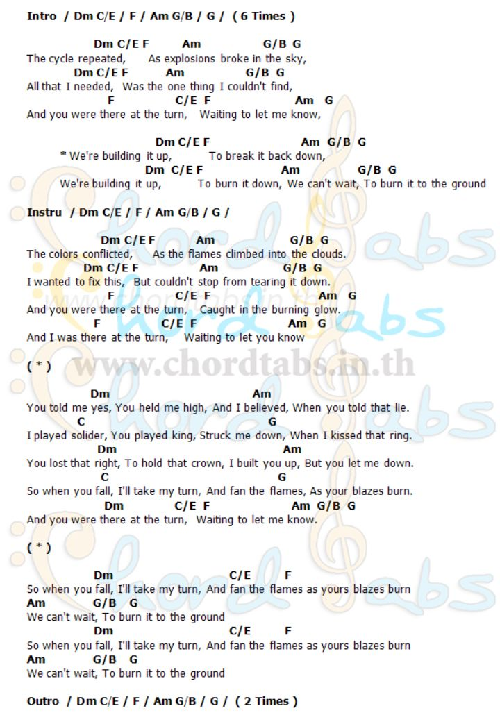 Burn It Down Linkin Park Linkin Park Burn It Down Guitar Chords