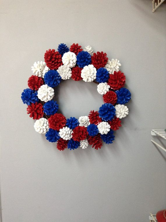 Patriotic pinecone wreath. Patriotic decor. Pinecone decor ...