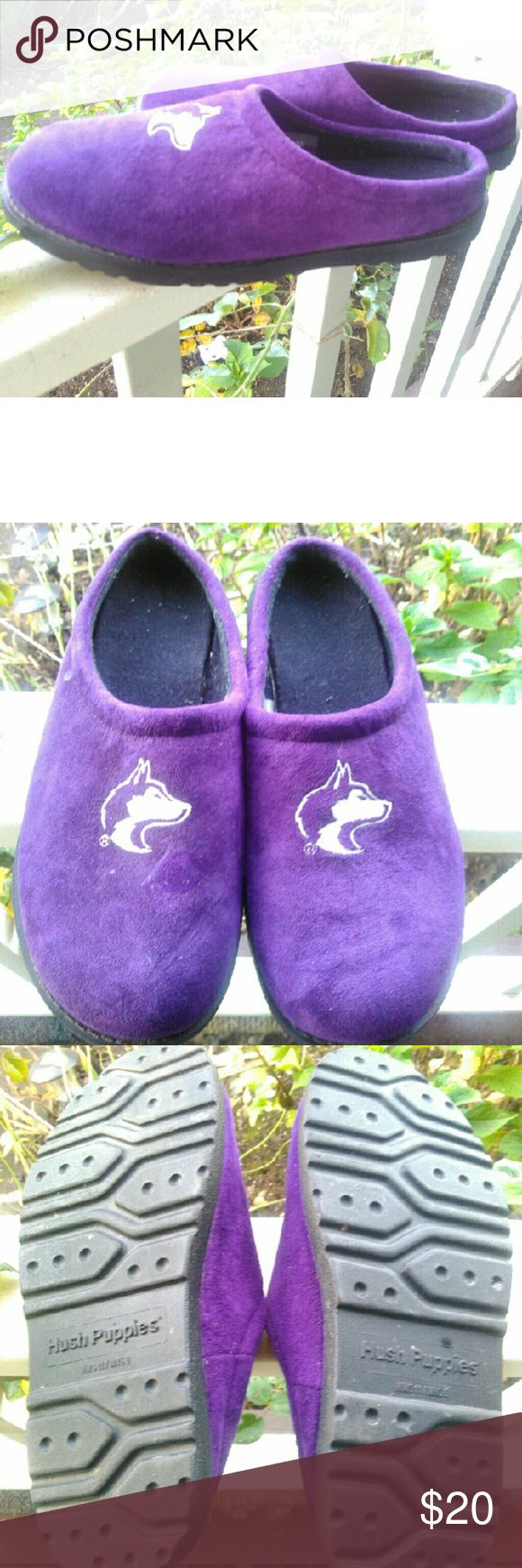 Husky Slippers Comfortable and sporting your favorite college team by Hush Puppies. These have rubber soles so you can wear outside. My husband never wore these so in perfect used condition. Men's size 9.  Any questions just ask. Hush Puppies Shoes Loafers & Slip-Ons