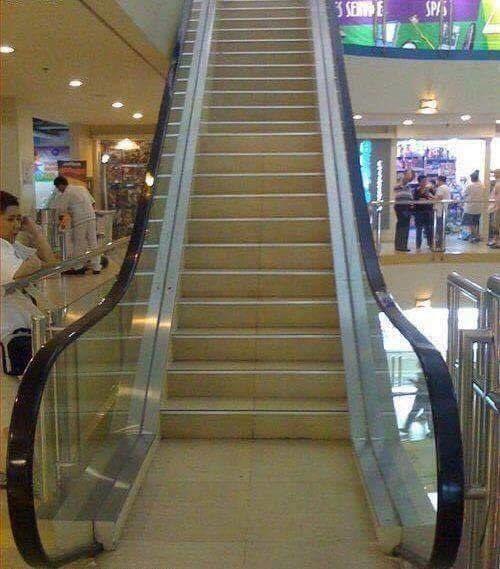 Alguien dígale a esta escalera que no es eléctrica. | 21 Individuos que empezaron el lunes más confundidos que tú