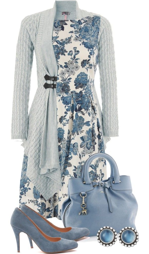 """blue roses"" by sagramora on Polyvore....love everything but the sweater and shoes"