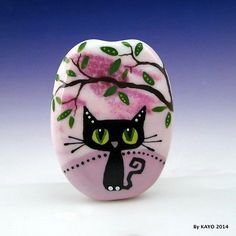 BASHFUL-BELLA-byKAYO-a-Handmade-SHY-CAT-Lampwork-Art-Glass-Focal-Bead-SRA