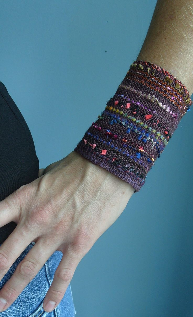 Handwoven Wide Cuff Bracelet Fabric by barefootweaver on Etsy