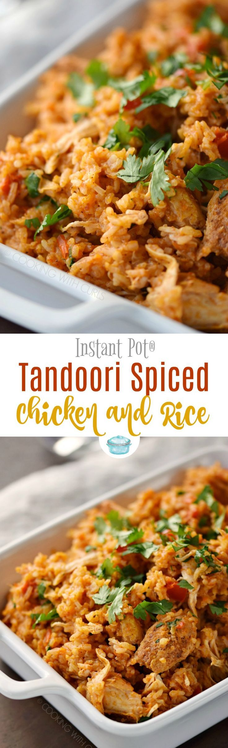 Instant Pot Tandoori Spiced Chicken and Rice is an easy weeknight meal that is packed with flavor and sure to make the entire family happy! #instantpot #chicken #tandoori #maincourse  via @cookwithcurls