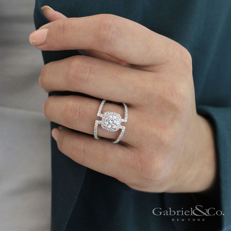 Gabriel NY - Voted #1 Most Preferred Fine Jewelry and Bridal Brand. Our infamous 14k White Gold Round Halo Nova Engagement Ring.