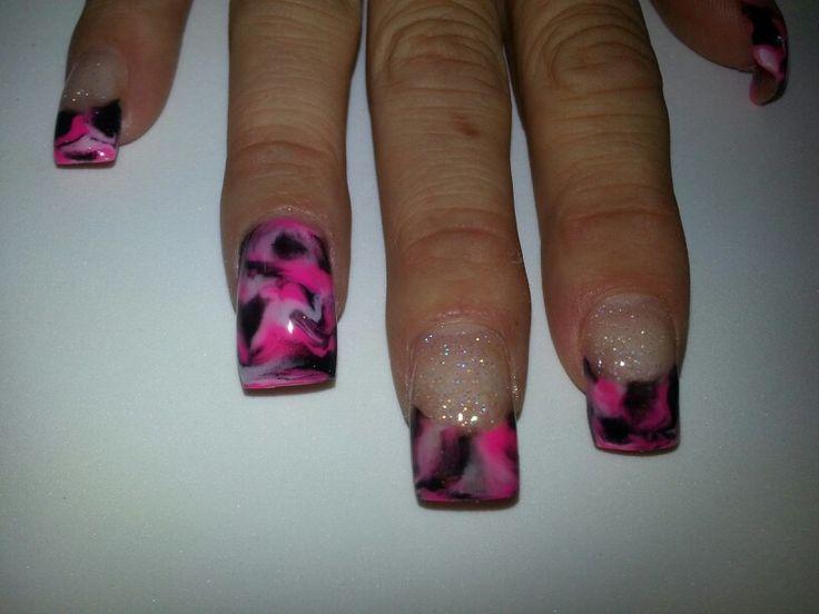 Pink camo acrylic nail art