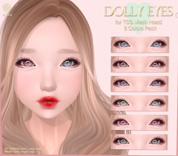 (*ANGELICA) DOLLY EYES for TSG Mesh Head $250L for all! Visit *ANGELICA @ .tsg. Mall http://maps.secondlife.com/secondlife/The%20Emporium/165/182/490