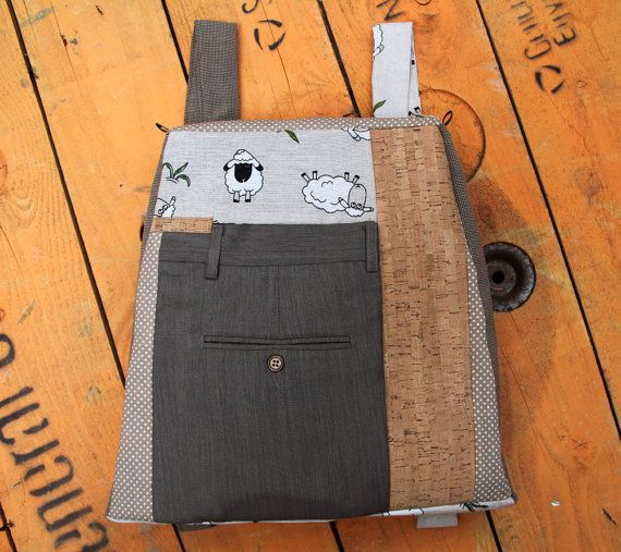 """Upcycled backpack from men's suit trousers and cork fabric, by """"Eating the Goober"""""""
