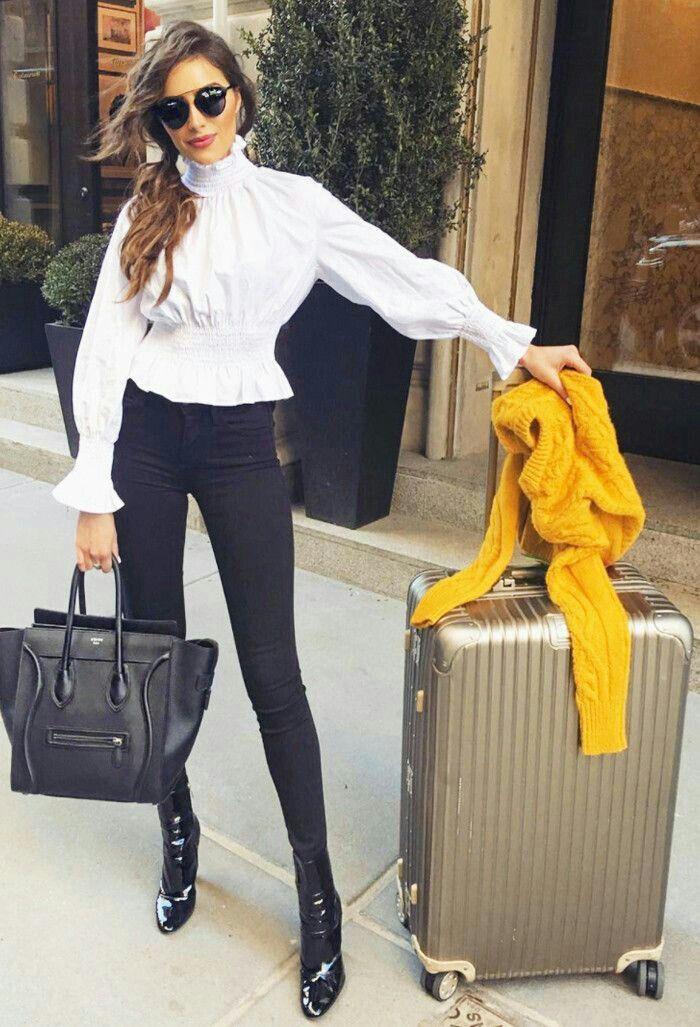 hair + white ruffle top +  black pants + shoes /Olivia Culpo