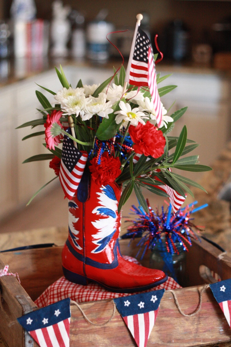 #Fourth of July/Memorial Day or any day centerpiece with a child's boot I painted from #Goodwill.  $5.99