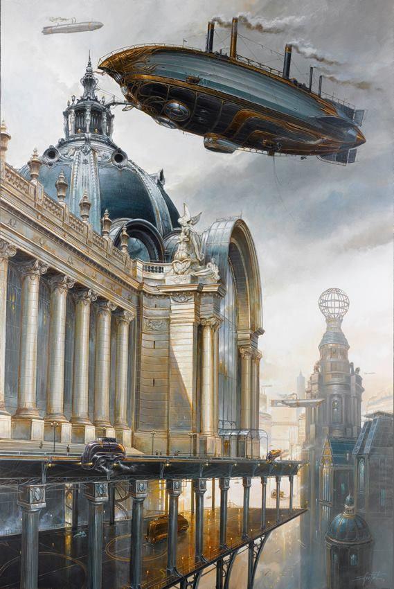#steampunk Artista: Didier Graffet. Contexto del steampunk: durante la primera Revolución industrial --- Enorme fe en la ciencia y el progreso como benefactores de la humanidad.