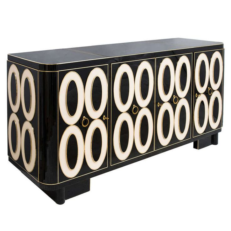Striking Murano Black and White Glass Sideboard circa 1970 | From a unique collection of antique and modern sideboards at http://www.1stdibs.com/furniture/storage-case-pieces/sideboards/