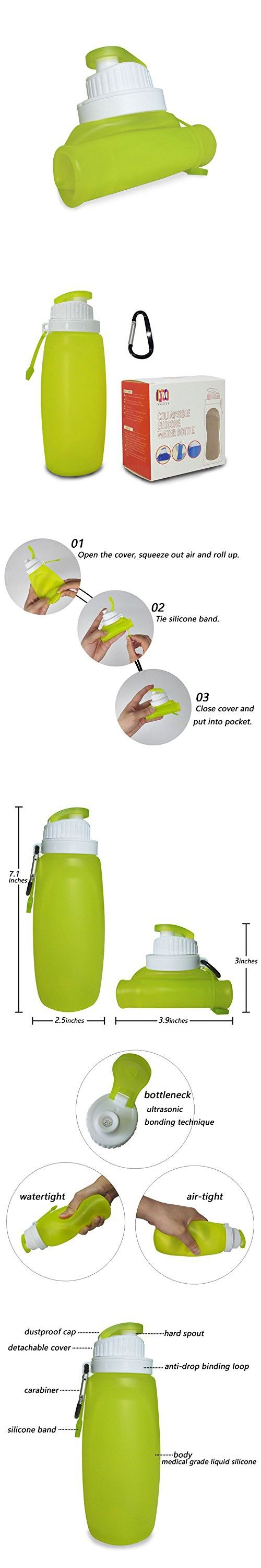 INMKAER Collapsible Water Bottle for Kids, Leak Proof Medical Grade Silicone Travel Water Bottle, 11 fl.oz