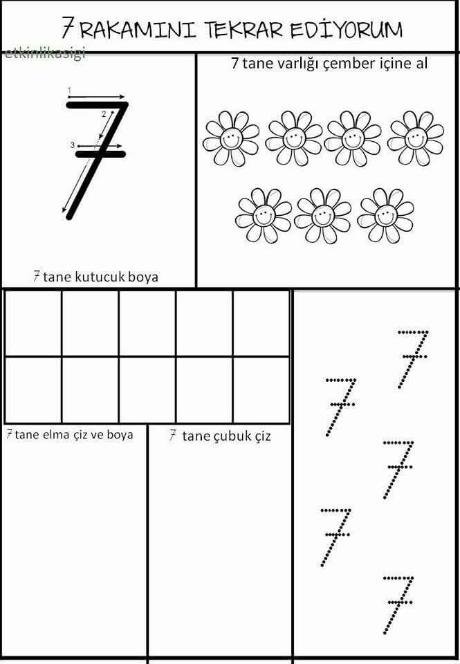 Serpil Ozkan Adli Kullanicinin 7 Rakami Calisma Ornekleri Panosundaki Pin Temel Matematik Yazma Matematik