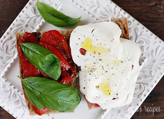 Tomato, Fresh Mozzarella, Roasted Pepper on Whole Wheat Bread: Skinny Taste, Clean Healthy Food, Skinny Tasting, Roasted Peppers, Healthy Mozzarella Tomatoes, Favorite Recipe, Eating Healthy, Fresh Mozzarella, Whole Wheat Breads