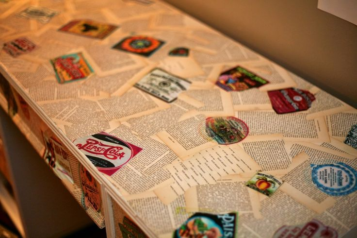 decoupage furniture using book pages and printed labels
