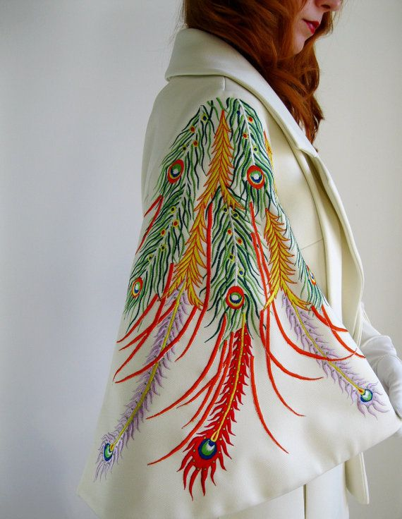 OMG!! Vintage and Peacocks!! I am in love! Sale1960s Lilli Ann Cream Suit Avant Garde Peacock by gogovintage, $275.00
