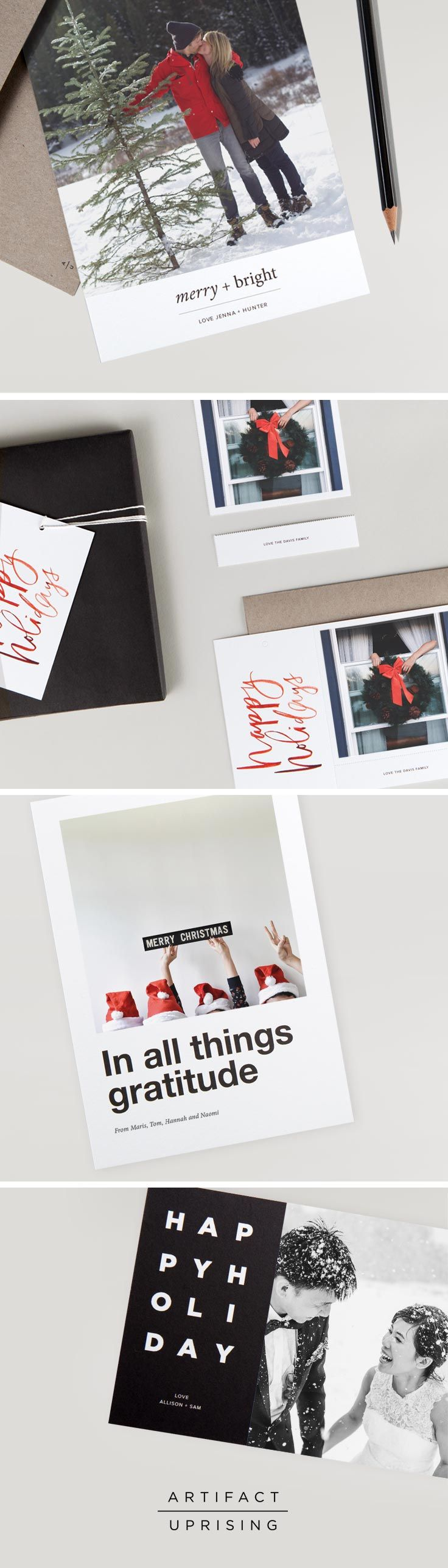 Holiday cards so good, even your neighbor will want one. The 2015 holiday photo card collection from @artifactuprsng offers exceptional holiday designs that can be customized with your favorite photo and personalized greeting. Create your cards in our online editor or straight from your iPhone, and have them delivered to your door in no time. Each holiday card is printed on 100% recycled paper and includes a kraft envelope.