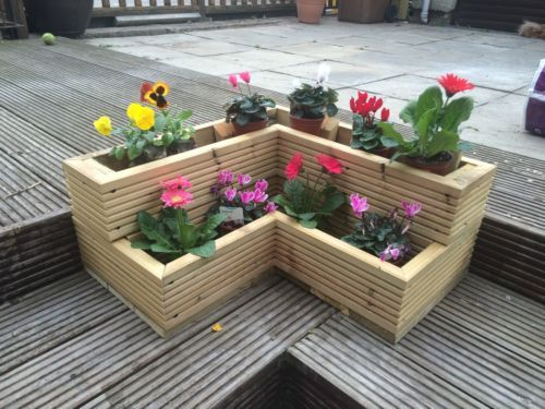 Details about handmade corner garden wooden decking for Garden decking planters
