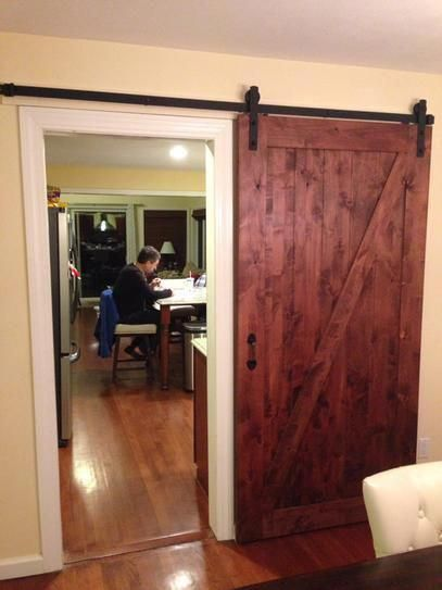 Z Bar Knotty Alder Interior Barn Door Slab With Sliding Door Hardware Kit  At The Home Depot Mobile Masoniteinteriordoors