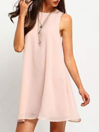 Vestido sin manga cuello redondo holgado -rosa