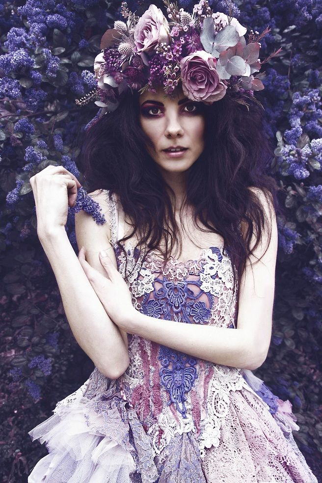 'Regal Rose' photoshoot   Clothing by 'Naturally Bohemian'  Photographer : Camilla Felgate    Hair and makeup : Amber Cobb   Model : Izadora  Floral headdress : Jo Flowers