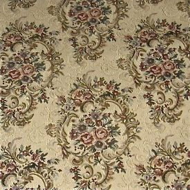 Traditional Rose Floral Ecru Victorian Jacquard Needlepoint Tapestry Upholstery Fabric