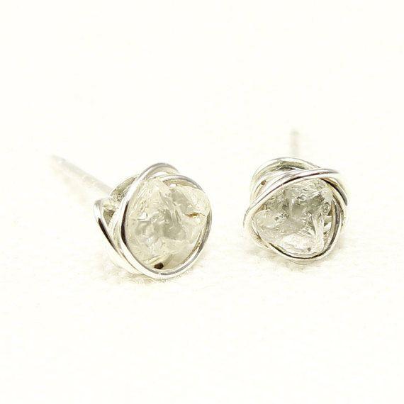Topaz Stud Earrings Tasmanian Rough Topaz Wire by ElementalSoul
