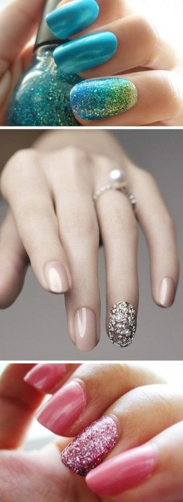Do I like this?  A trend that is on the rise is painting one nail different from the others, a.k.a an accent nail. It can be a different color, feature a special design, be sparkly, the sky is the limit! The nail of choice is usually the ring finger (lightbulb!)