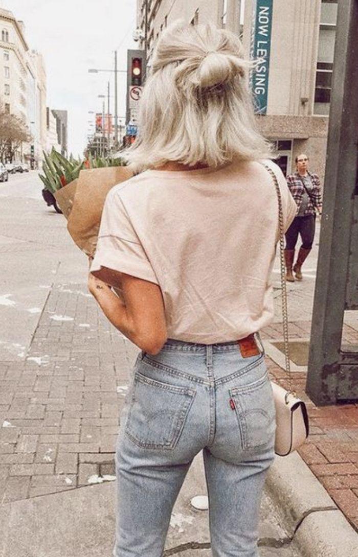 blush tee + levis 501 skinny jeans #ootd