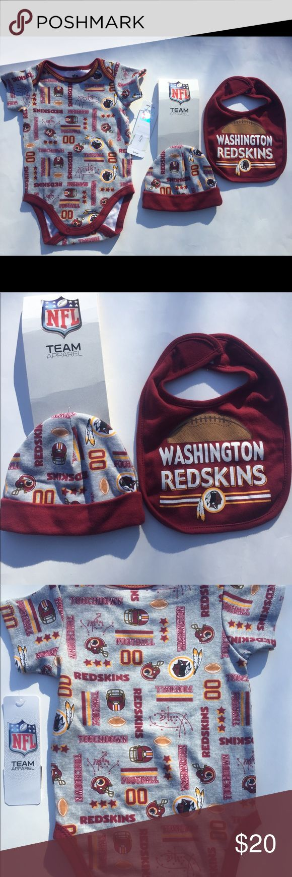 NFL REDSKINS BABY 3 piece set outfit NFL TEAM APPAREL 0-3 months TEAM REDSKINS NEW WITH TAGS IT COMES WITH THE 3 PIECES. ONE-PIECE, HAT AND BIB. They came together but detached from the from the tag they came with but all 3 piece come together. NFL One Pieces Bodysuits